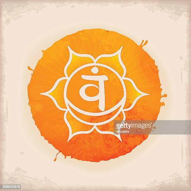 bildbanksillustrationer, clip art samt tecknat material och ikoner med svadhishthana - vintage watercolour chakra symbol 2 - chakra