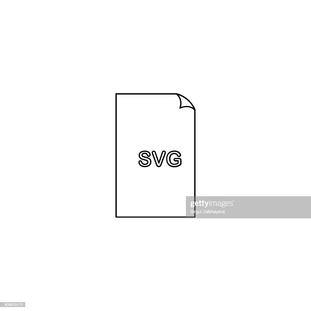 Svg format document line icon, outline vector sign, linear style pictogram isolated on white. File formats symbol, logo illustration. Editable stroke