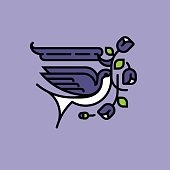 Swallow and purple flowers. American tattoo style vector illustration