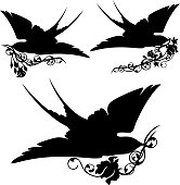 swallow birds and roses