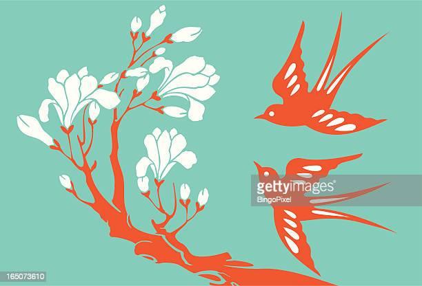 illustrations, cliparts, dessins animés et icônes de hirondelles & magnolia - hirondelle