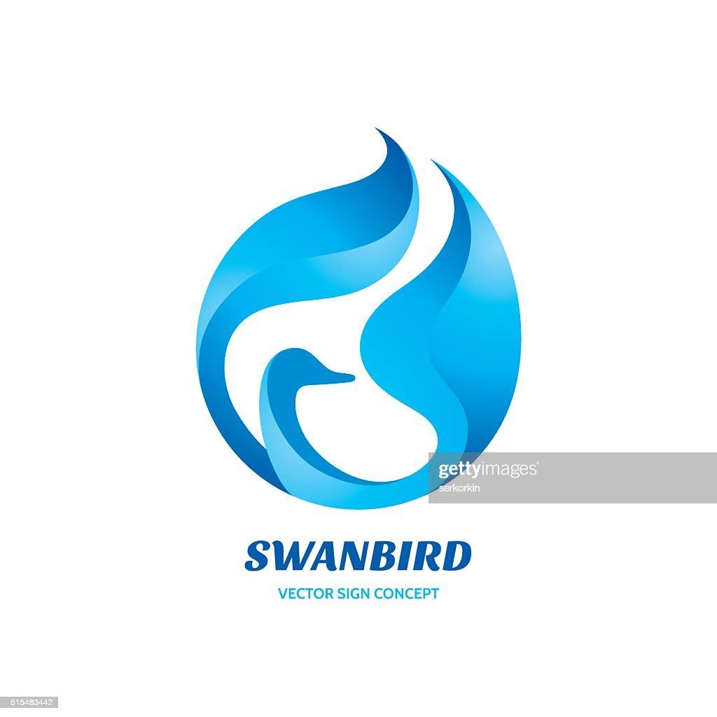 Swan bird - vector sign concept illustration.