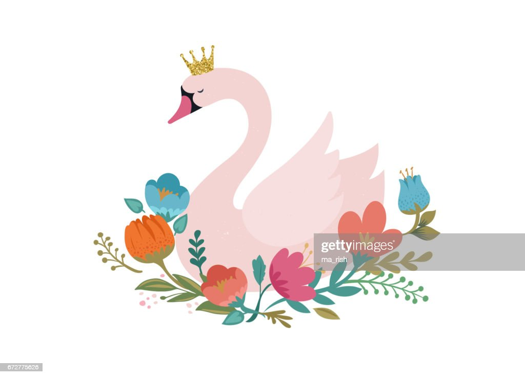 Swan lake, greeting card, poster and illustration