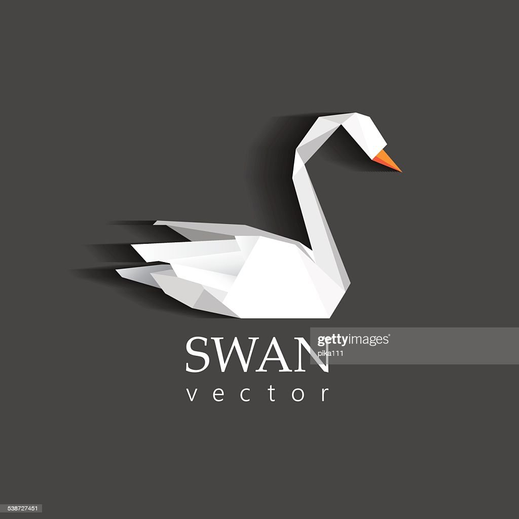 swan origami low polygon icon for business visual identity