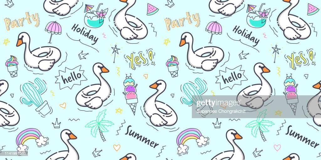 Swan pattern seamless background in pastel color