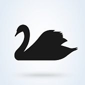 swan vector icon. silhouette sign on white background.