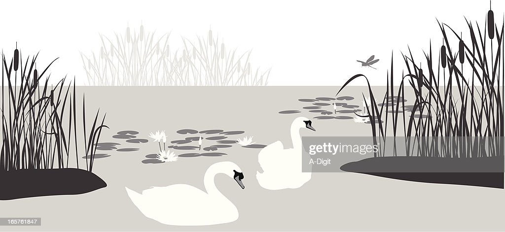 Swan'n Cattails Vector Silhouette