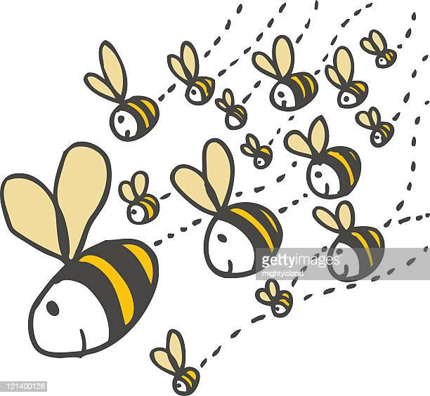 swarm of bees - bumblebee stock illustrations, clip art, cartoons, & icons