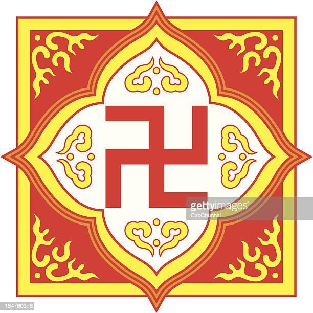 stockillustraties, clipart, cartoons en iconen met swastika symbol-buddhist tradition pattern - tibetaanse cultuur