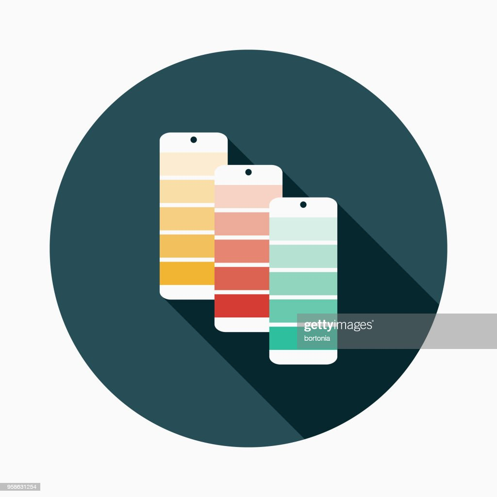 Swatches Flat Design Arts Icon with Side Shadow