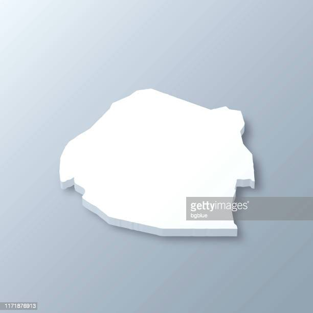 swaziland 3d map on gray background - eswatini stock illustrations, clip art, cartoons, & icons