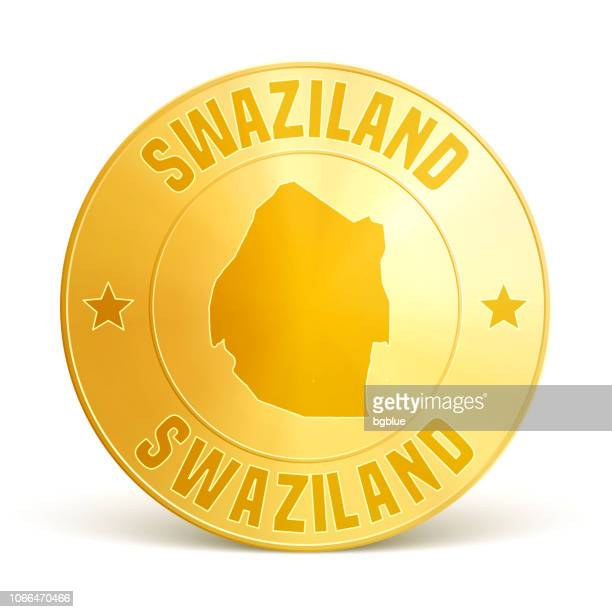 swaziland - gold coin on white background - eswatini stock illustrations, clip art, cartoons, & icons