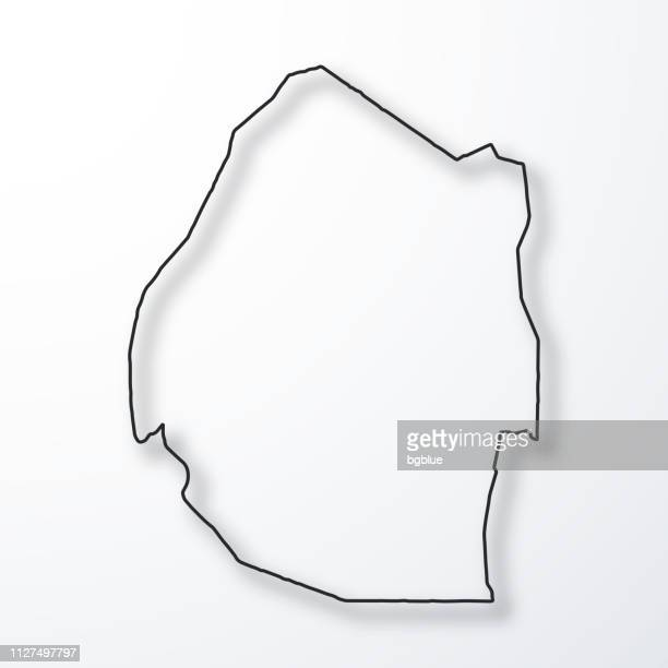 swaziland map - black outline with shadow on white background - swaziland stock illustrations