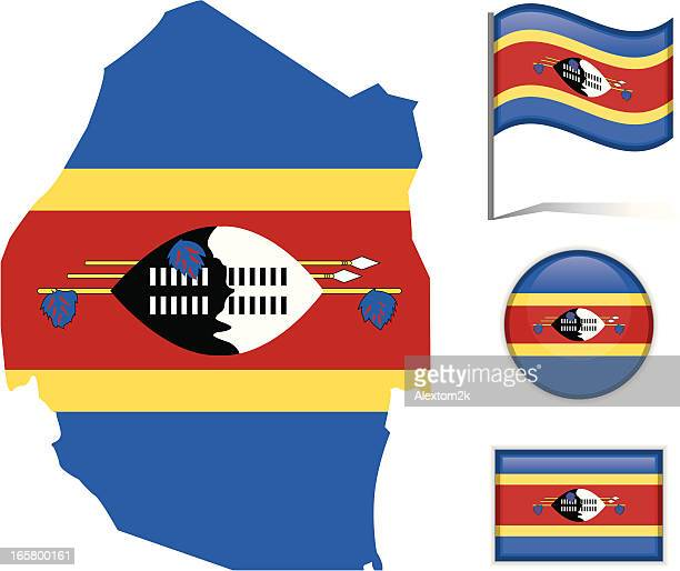 swaziland map & flag - eswatini stock illustrations, clip art, cartoons, & icons