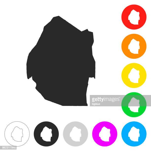 swaziland map - flat icons on different color buttons - eswatini stock illustrations, clip art, cartoons, & icons