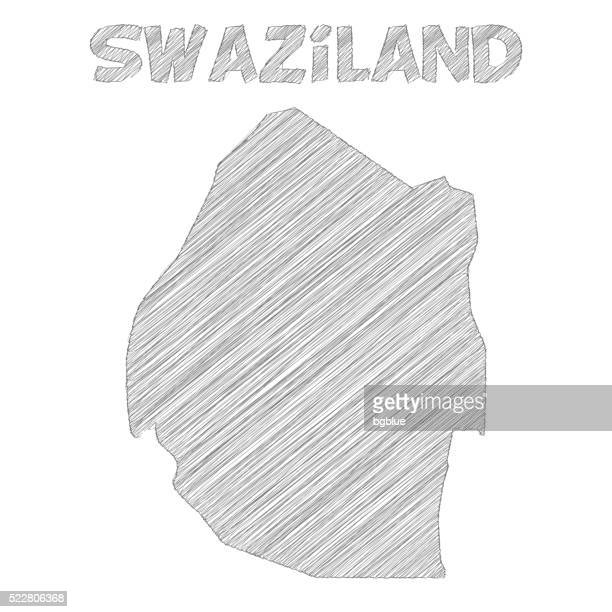 swaziland map hand drawn on white background - eswatini stock illustrations, clip art, cartoons, & icons