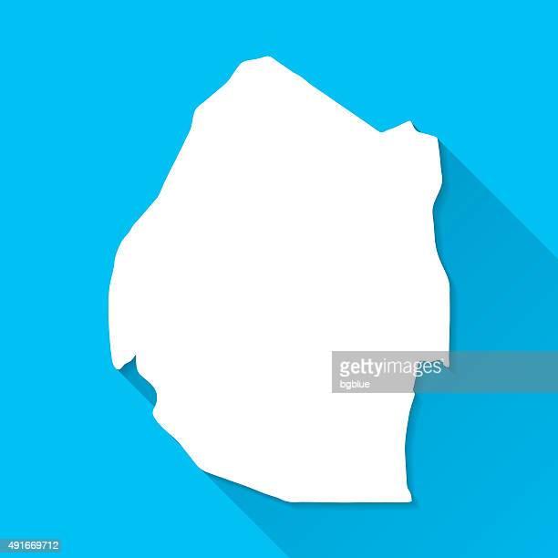 swaziland map on blue background, long shadow, flat design - eswatini stock illustrations, clip art, cartoons, & icons