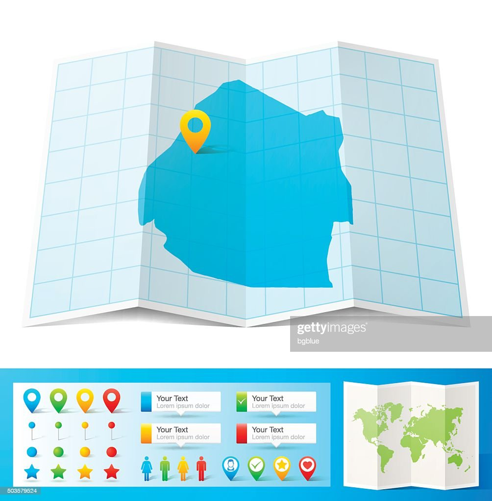 Swaziland Map With Location Pins Isolated On White Background Vector ...