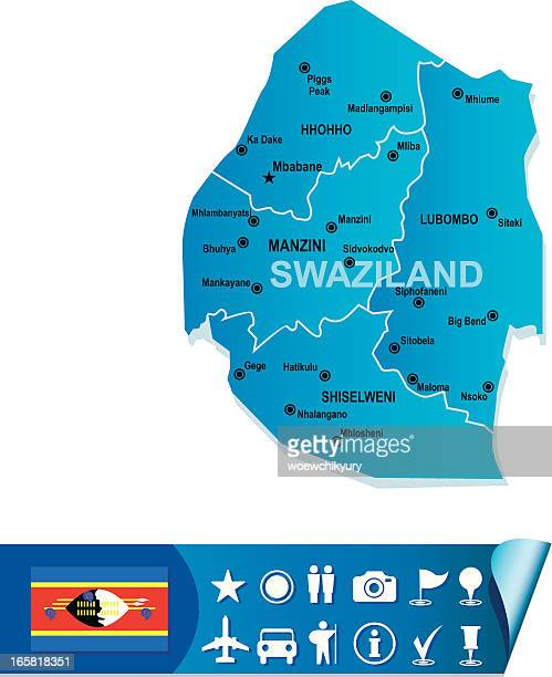 swaziland vector map - eswatini stock illustrations, clip art, cartoons, & icons