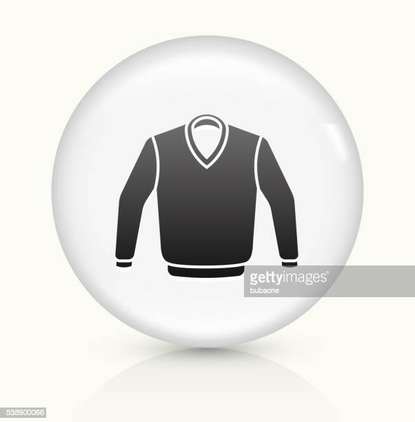sweater icon on white round vector button - cardigan sweater stock illustrations, clip art, cartoons, & icons