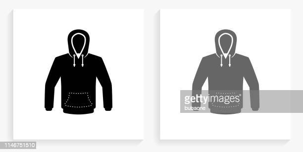 sweatshirt black and white square icon - hooded top stock illustrations