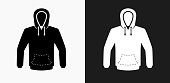 Sweatshirt Icon on Black and White Vector Backgrounds
