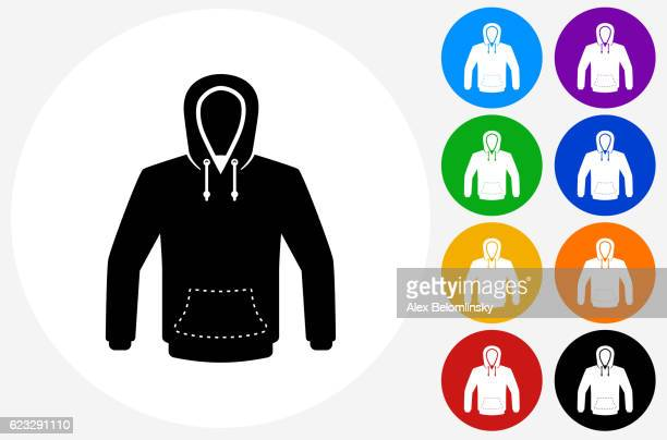sweatshirt icon on flat color circle buttons - hooded top stock illustrations