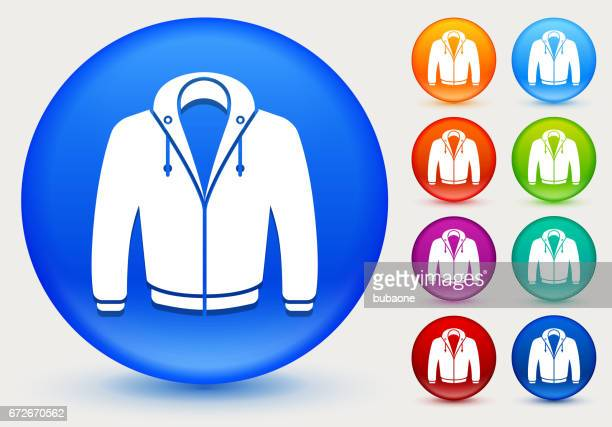 Sweatshirt Icon on Shiny Color Circle Buttons