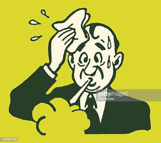 sweaty man in suit wiping head - relief emotion stock illustrations, clip art, cartoons, & icons