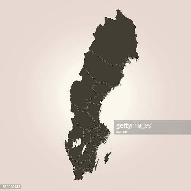 sweden dark brown map on beige background - sweden stock illustrations