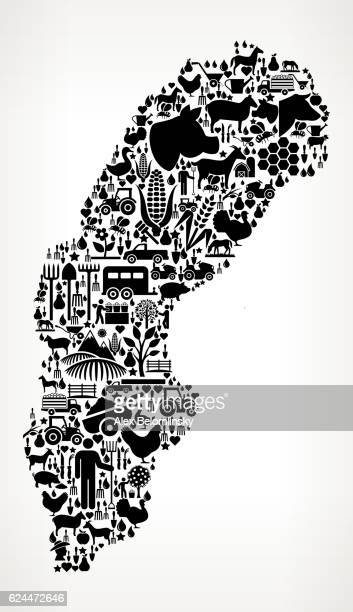 Sweden Farming and Agriculture Black Icon Pattern