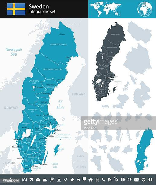sweden - infographic map - illustration - sweden stock illustrations