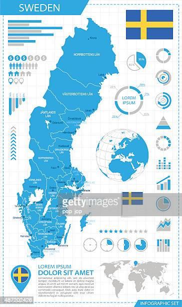 Sweden - infographic map - Illustration