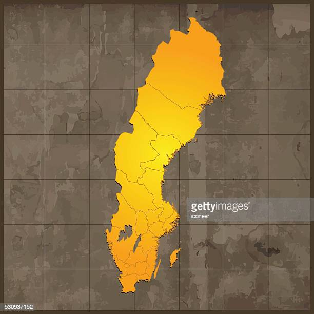 sweden map golden on old paper with grid - country geographic area stock illustrations, clip art, cartoons, & icons