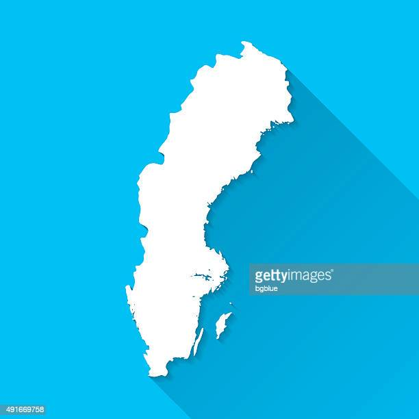 Sweden Map on Blue Background, Long Shadow, Flat Design