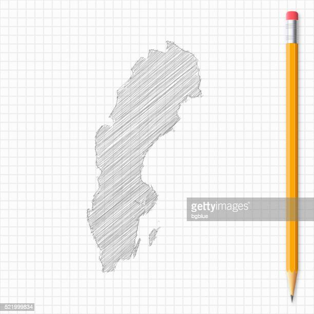 Sweden map sketch with pencil on grid paper