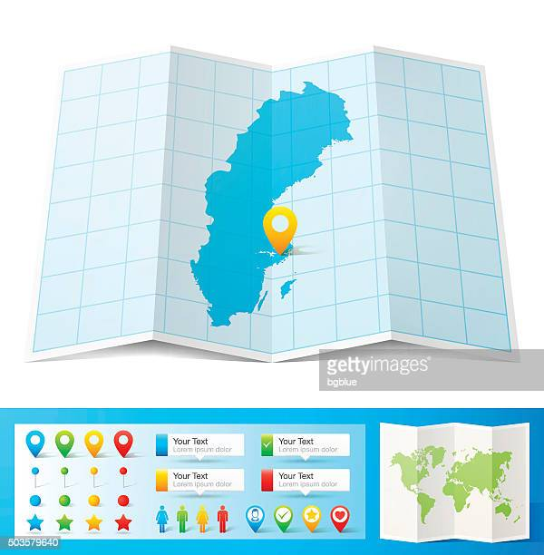 Sweden Map with location pins isolated on white Background