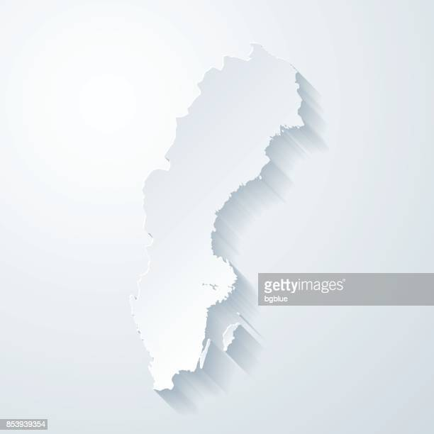 Sweden map with paper cut effect on blank background