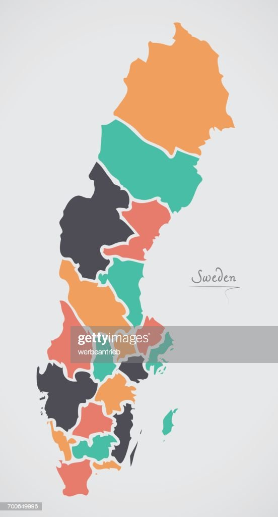 Sweden map with states and modern round shapes vector art getty images sweden map with states and modern round shapes vector art gumiabroncs Image collections
