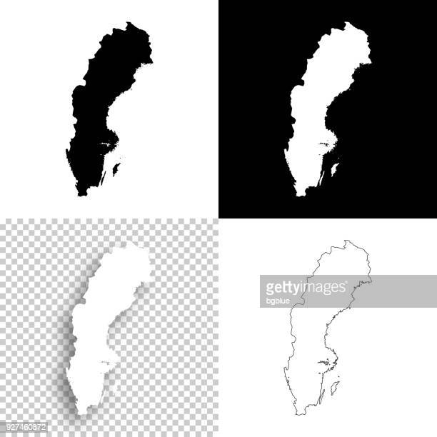 Sweden maps for design - Blank, white and black backgrounds