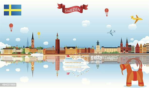 sweden skyline - stockholm stock illustrations