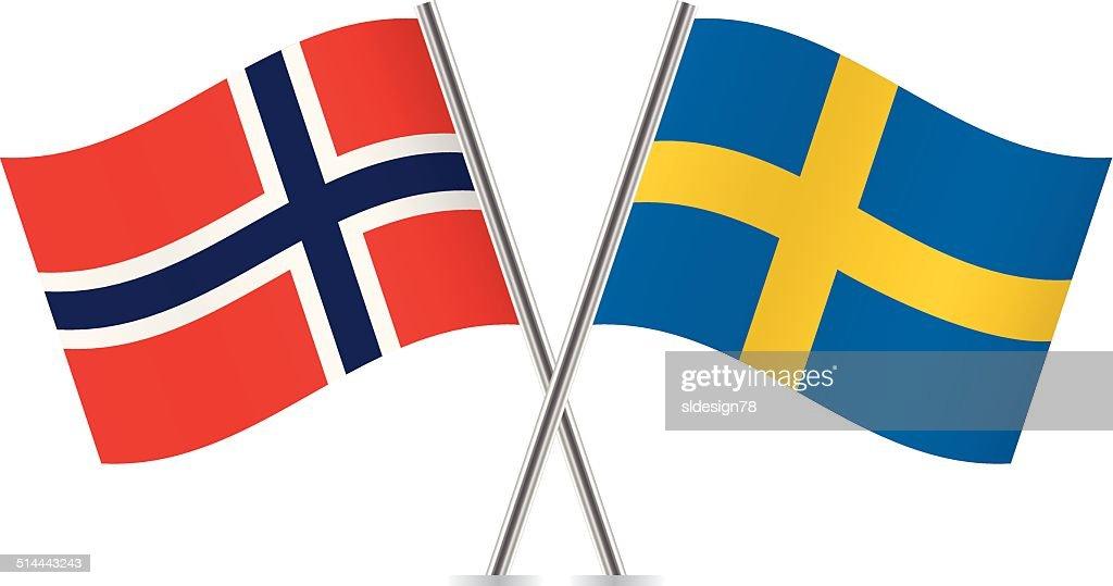 Swedish and Norwegian flags. Vector.