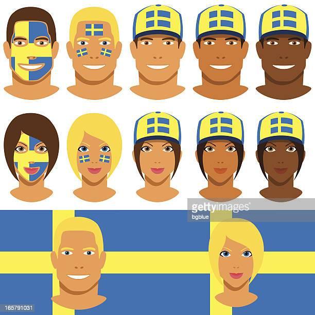 Swedish fans, patriot with flag of Sweden