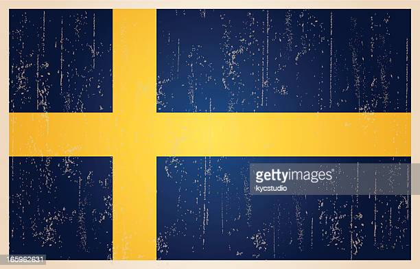 Swedish flag in grunge and vintage style.
