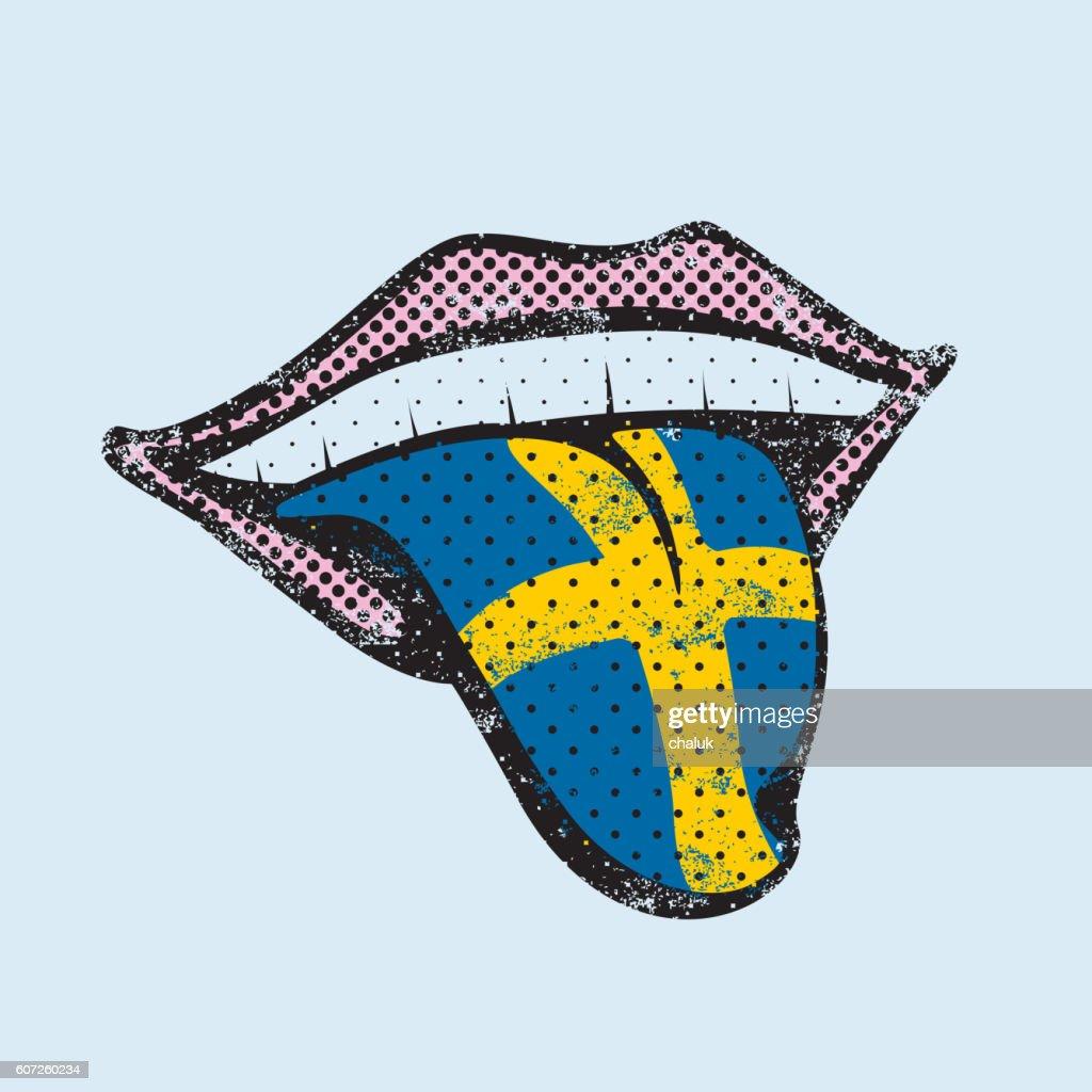 Swedish language learning tongue icon