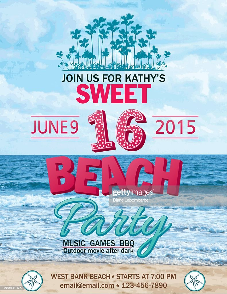 Sweet 16 Beach Party Invitation With Water Palm Trees