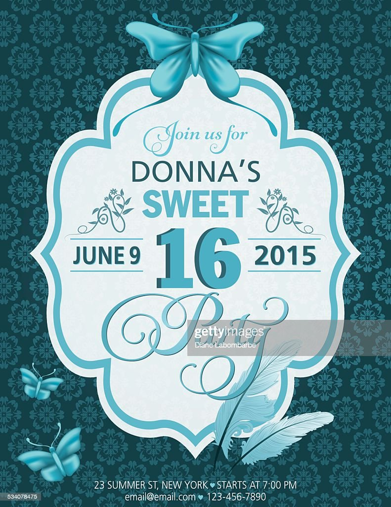 Sweet 16 Birthday Party Invitation Template With Butterflies And ...