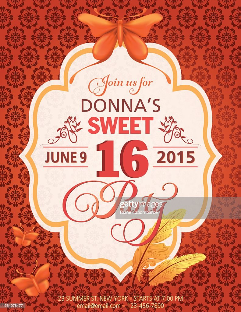 Sweet 16 Birthday Party Invitation Template With Butterflies And Feathers Vector Art