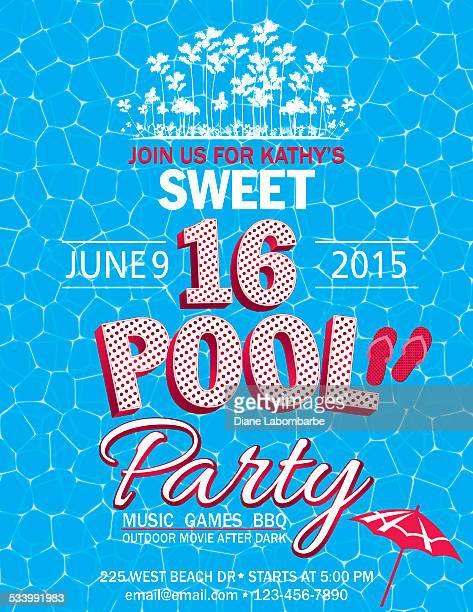 ilustraciones, imágenes clip art, dibujos animados e iconos de stock de sweet 16 de la fiesta junto a la piscina con palmeras invitación agua - pool party