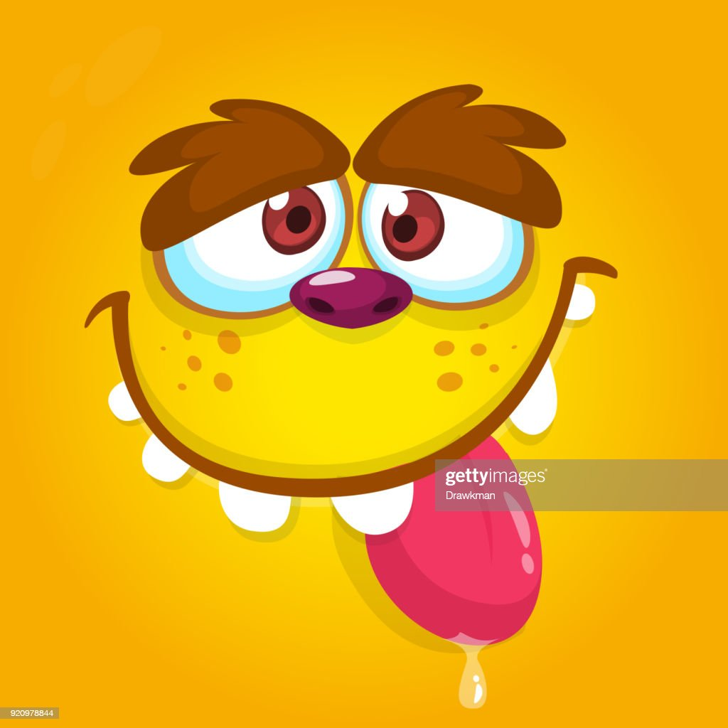 Sweet and cute cartoon monster face with big eyes showing tongue. Vector Halloween green monster